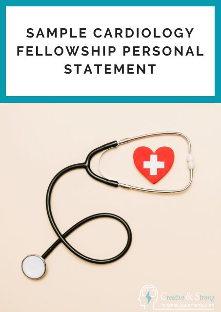 Sample Cardiology Fellowship Personal Statement