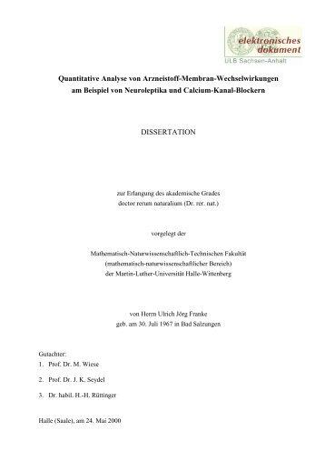 Quantitative Analyse von Arzneistoff-Membran-Wechselwirkungen ...