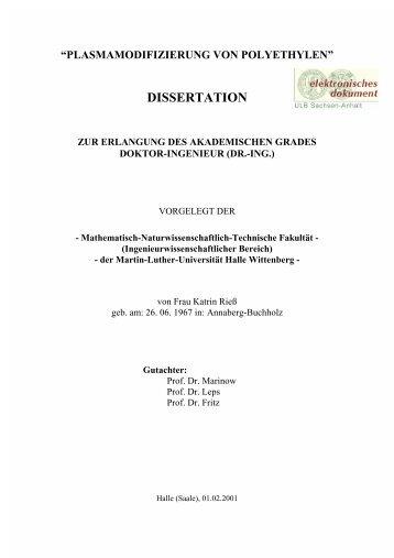 """""""plasmamodifizierung von polyethylen"""" dissertation zur erlangung ..."""