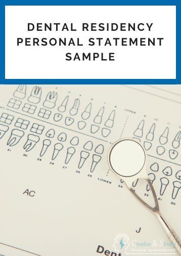 Dental Residency Personal Statement Sample