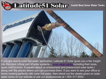 Install Best Solar Water Tanks