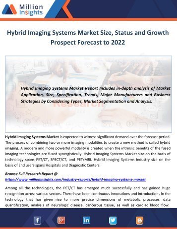 Hybrid Imaging Systems Market Size, Status and Growth Prospect Forecast to 2022
