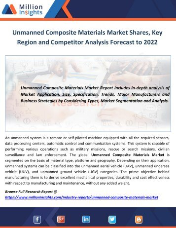 Unmanned Composite Materials Market Shares, Key Region and Competitor Analysis Forecast to 2022