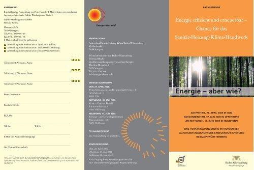 Energie – aber wie? - Fachverband Sanitär Heizung Klima Baden ...