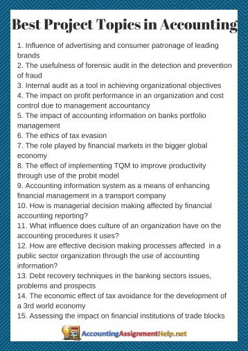Best Project Topics in Accounting