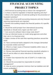 Financial Accounting Project Topics