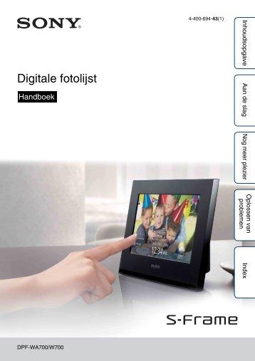 Sony DPF-W700 - DPF-W700 Consignes d'utilisation Néerlandais