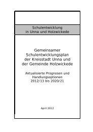 Gemeinsamer Schulentwicklungsplan der Kreisstadt Unna und der ...