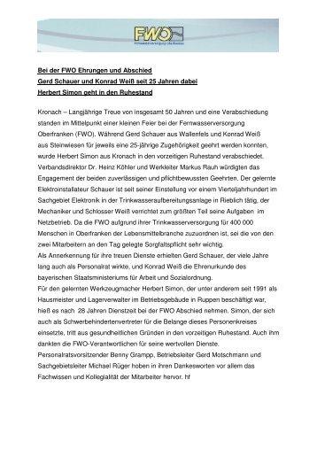 Bei der FWO Ehrungen und Abschied Gerd Schauer und Konrad ...