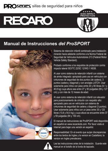 Manual de Instrucciones del ProSPORT - Recaro