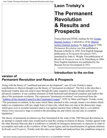 Permanent Revolution - Marxists Internet Archive