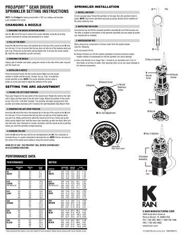 prosport ™ gear driven sprinkler setting instructions