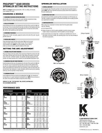 prosport ™ gear driven sprinkler setting instructions