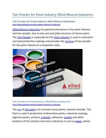 Talc Powder for Paint Industry Allied Mineral Idustries