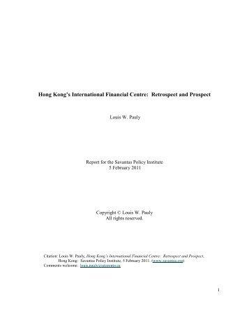 Hong Kong's International Financial Centre: Retrospect and Prospect