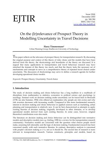 On the (Ir)relevance of Prospect Theory in Modelling Uncertainty in ...