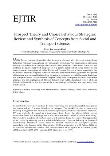 Prospect Theory and Choice Behaviour Strategies: Review and ...