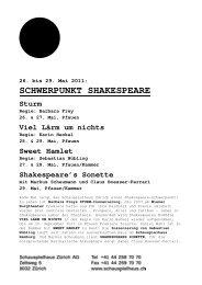 SCHWERPUNKT SHAKESPEARE Sturm - Schauspielhaus Zürich