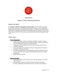 Manager, Prospect Management and Research - Campaign for ...