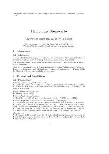 1999 - Hamburger Sternwarte - Universität Hamburg