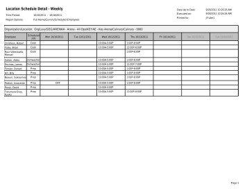 Location Schedule Detail - Weekly