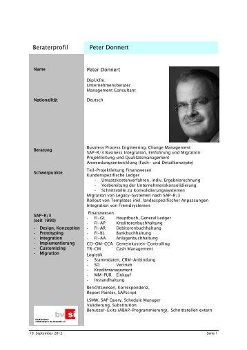 Mitarbeiter - Profil Muster - Unternehmensberatung Peter Donnert