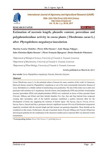 Estimation of necrosis length, phenolic content, peroxidase and polyphenoloxidase activity in cocoa plants (Theobroma cacao L.) after Phytophthora megakarya inoculation