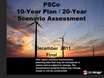 PSCo 10-Year Plan / 20-Year Scenario Assessment