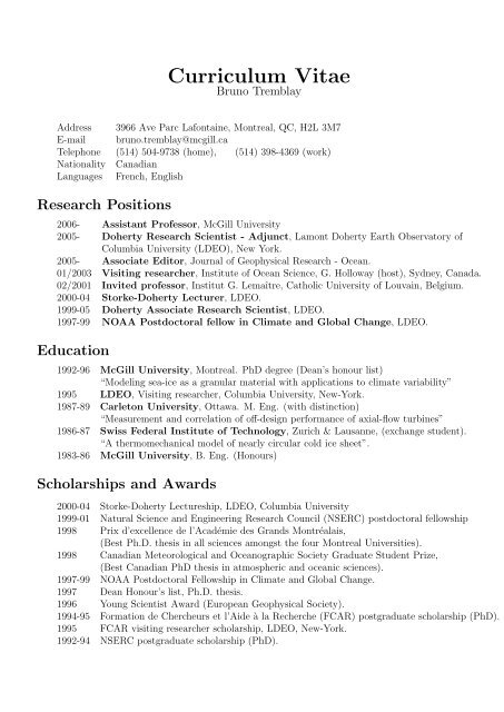 Curriculum Vitae Atmospheric And Oceanic Sciences Mcgill