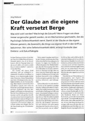 Page 1 Jürg Pscherer Der Glaube an die eigene Kraft versetzt Berge ...
