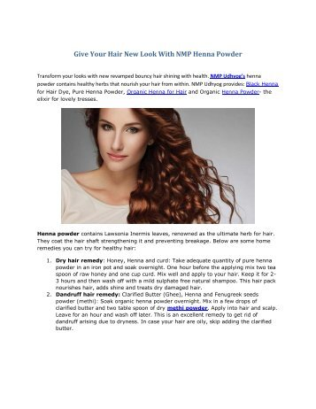 Give Your Hair New Look With NMP Henna Powder