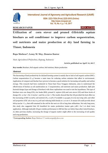 Utilization of corn stover and pruned Gliricidia sepium biochars as soil conditioner to improve carbon sequestration, soil nutrients and maize production at dry land farming in Timor, Indonesia