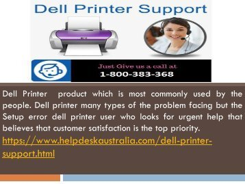 How to Resolve Setup Error Dell  Printer Customer Service  Australia ?