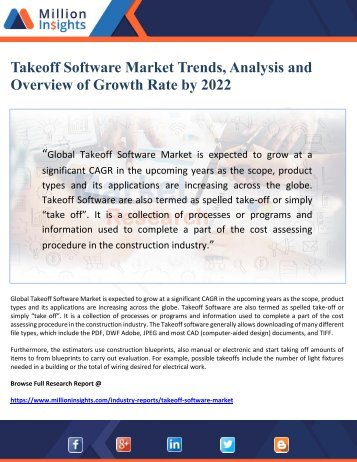 Takeoff Software Market Trends, Analysis and Overview of Growth Rate by 2022