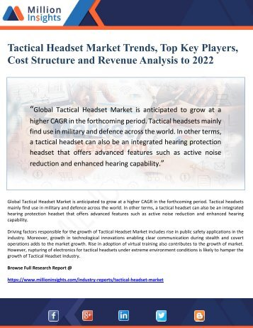Tactical Headset Market Trends, Top Key Players,  Cost Structure and Revenue Analysis to 2022
