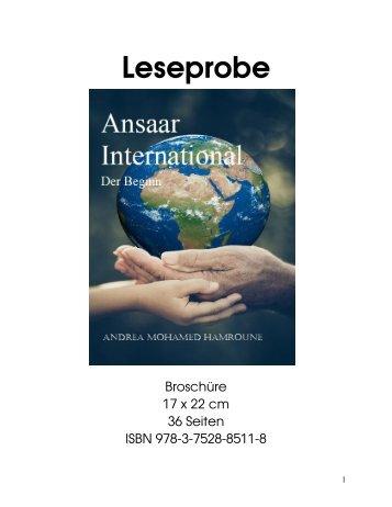 """Leseprobe """"Ansaar International: Der Beginn"""" von Andrea Mohamed Hamroune"""
