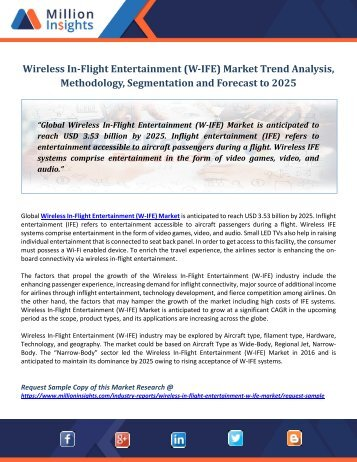 Wireless In-Flight Entertainment (W-IFE) Market Trend Analysis, Methodology, Segmentation and Forecast to 2025