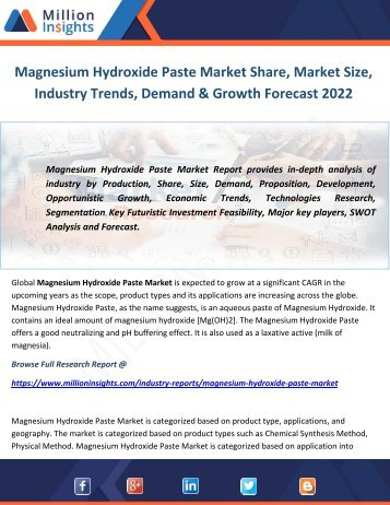 Magnesium Hydroxide Paste Market Share, Market Size, Industry Trends, Demand & Growth Forecast 2022