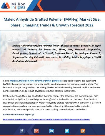 Maleic Anhydride Grafted Polymer (MAH-g) Market Size, Share, Emerging Trends & Growth Forecast 2022