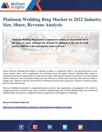 Platinum Wedding Ring Market to 2022 Industry Size, Share, Revenue Analysis