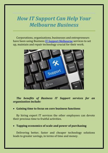 How IT Support Can Help Your Melbourne Business