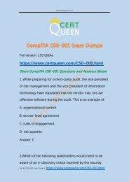 New Cracked CompTIA CySA+ CS0-001 Exam Dumps
