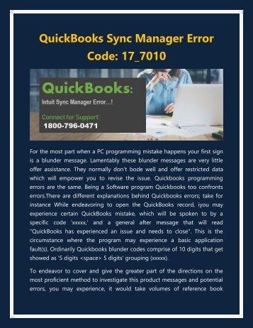 1800-796-0471 - QuickBooks Sync Manager Error Code: 17_7010