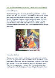 The Semitic Religions—Judaism, Christianity and Islam?