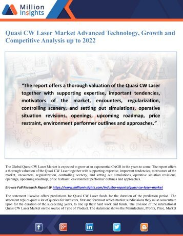 Quasi CW Laser Market Advanced Technology, Growth and Competitive Analysis up to 2022