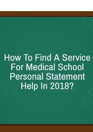 How to Find a Service for Medical School Personal Statement Help in 2018