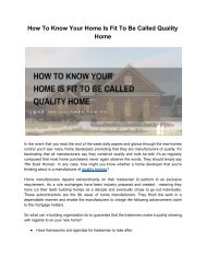 What Makes A Home Quality Home ?