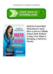 DOWNLOAD FREE Math Doesn't Suck How to Survive Middle School Math Without Losing Your Mind or Breaking a Nail [Free Ebook]