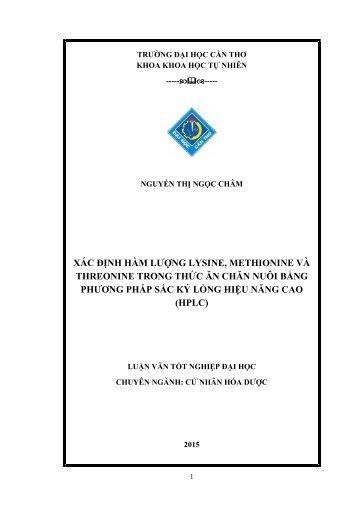 XÁC ĐỊNH HÀM LƯỢNG LYSINE, METHIONINE VÀ THREONINE TRONG THỨC ĂN CHĂN NUÔI BẰNG PHƯƠNG PHÁP SẮC KÝ LỎNG HIỆU NĂNG CAO (HPLC)