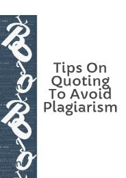 Tips on Quoting to Avoid Plagiarism